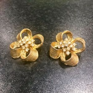 Large Statement Gold Pave Earrings